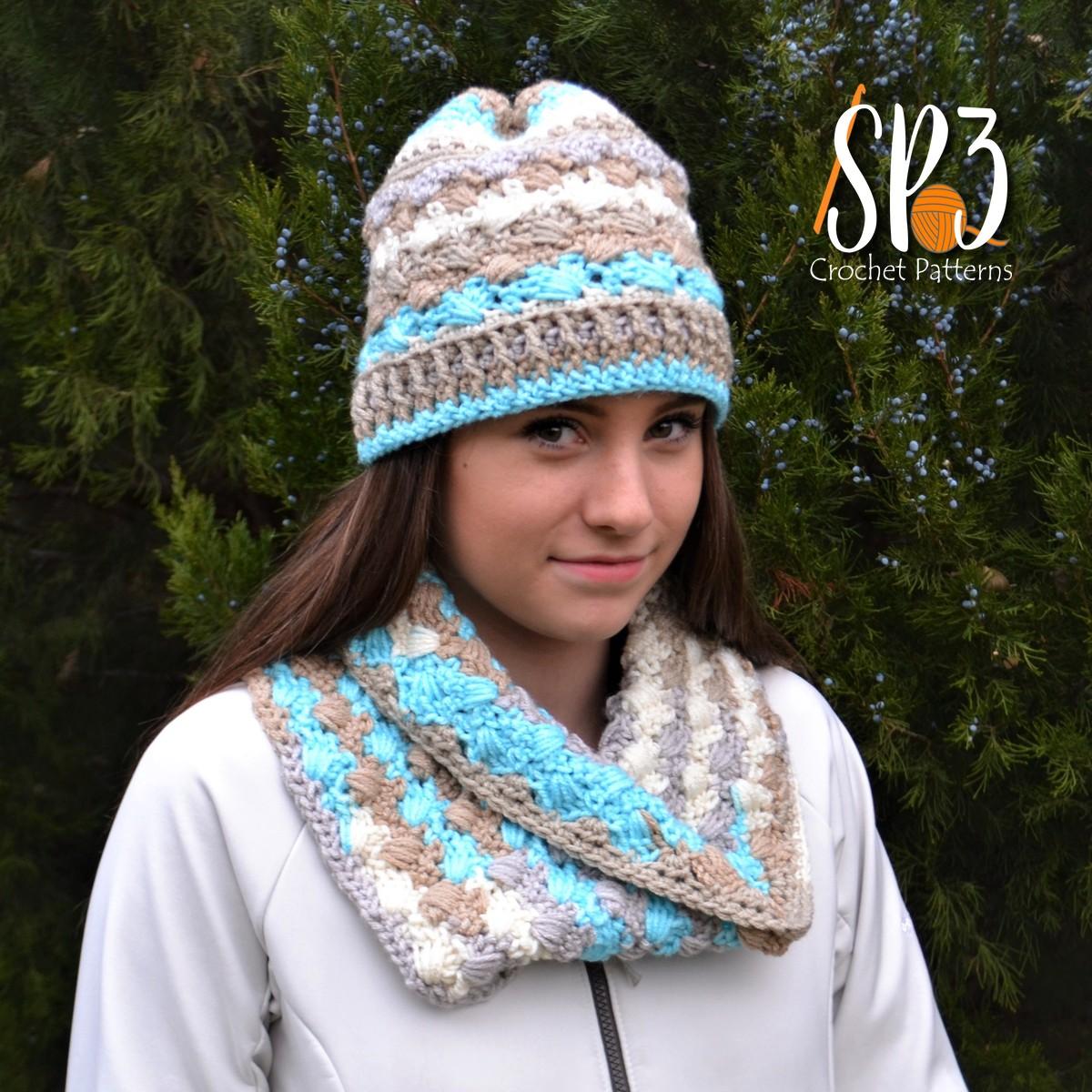 Woven Shells Hat & Cowl Crochet Pattern