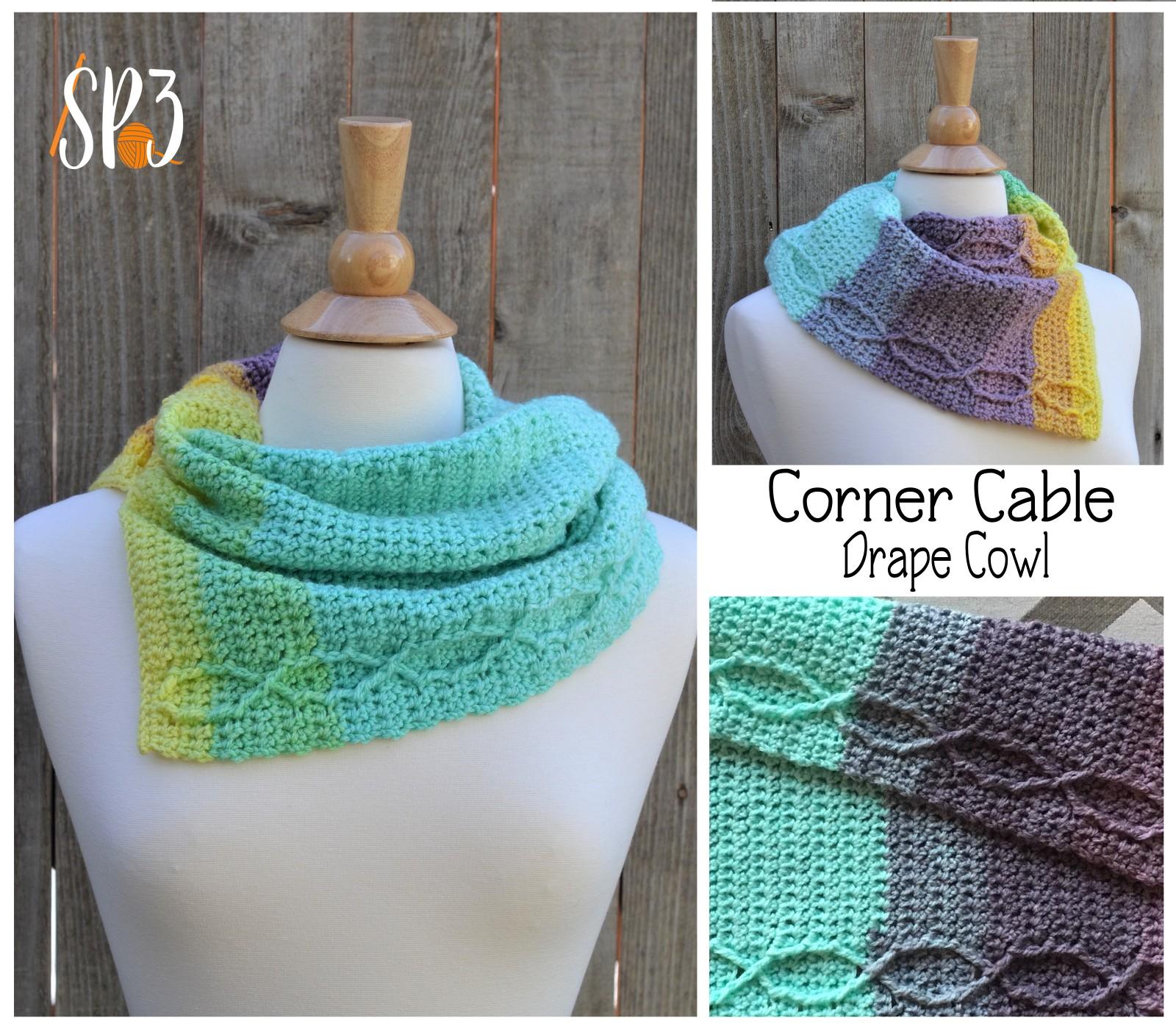 Corner Cable Drape Cowl Crochet Pattern
