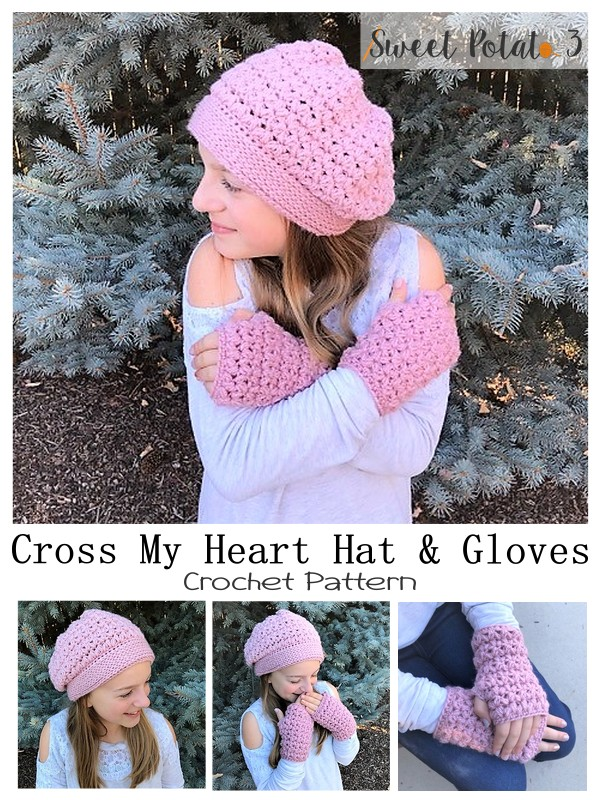 Cross My Heart Crochet Pattern Hat & Gloves