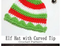 Elf Hat with Curved Tip Crochet Pattern