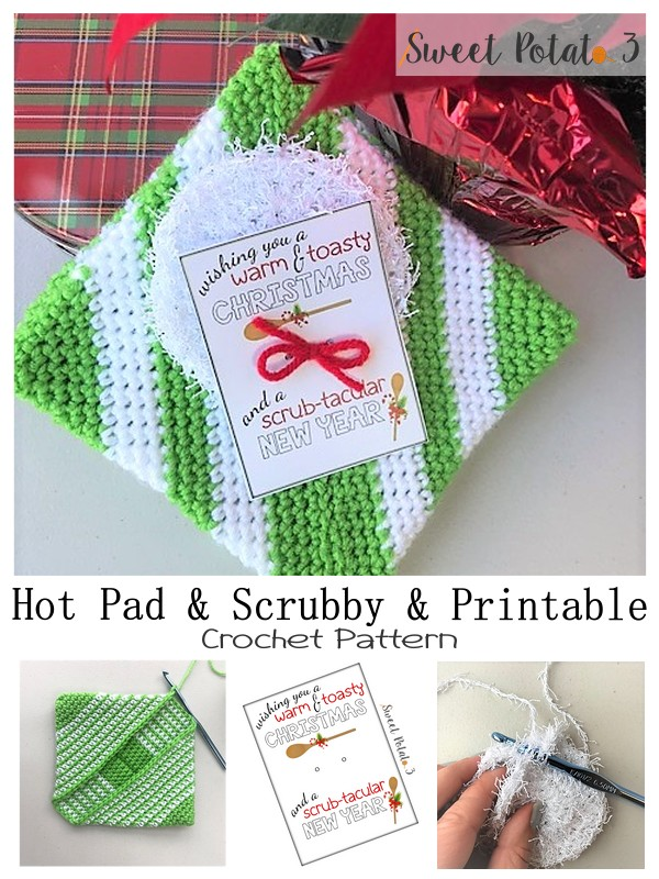 Hot Pad Scrubby Crochet Tutorial with Printable