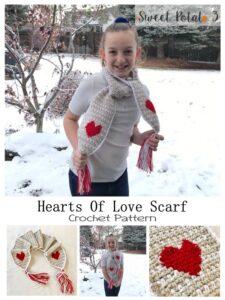 Hearts of Love Scarf Crochet Pattern