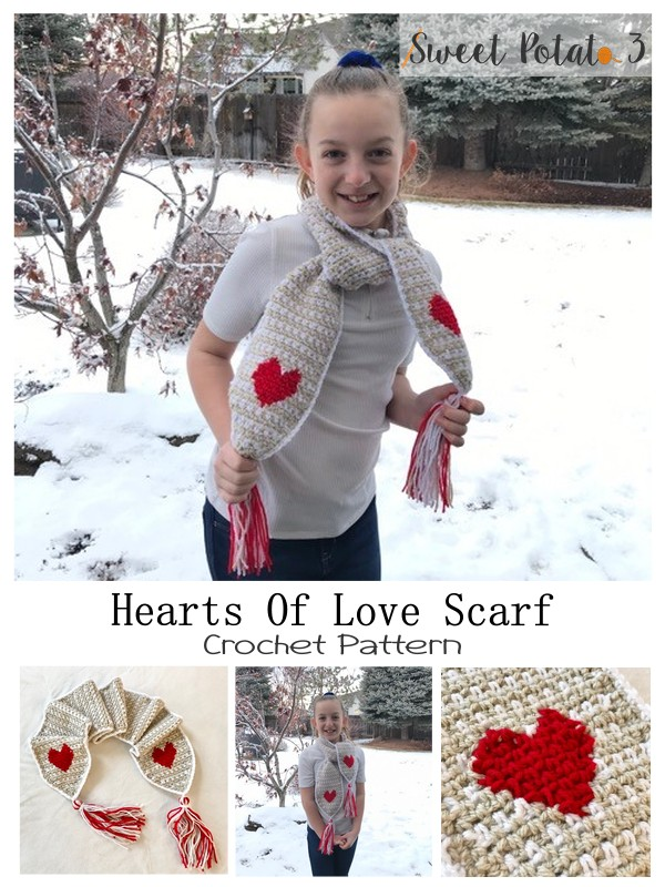 Hearts of Love Scarf Crochet Pattern