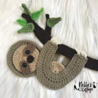 Crochet Sloth Applique Pattern by Nella's Cottage