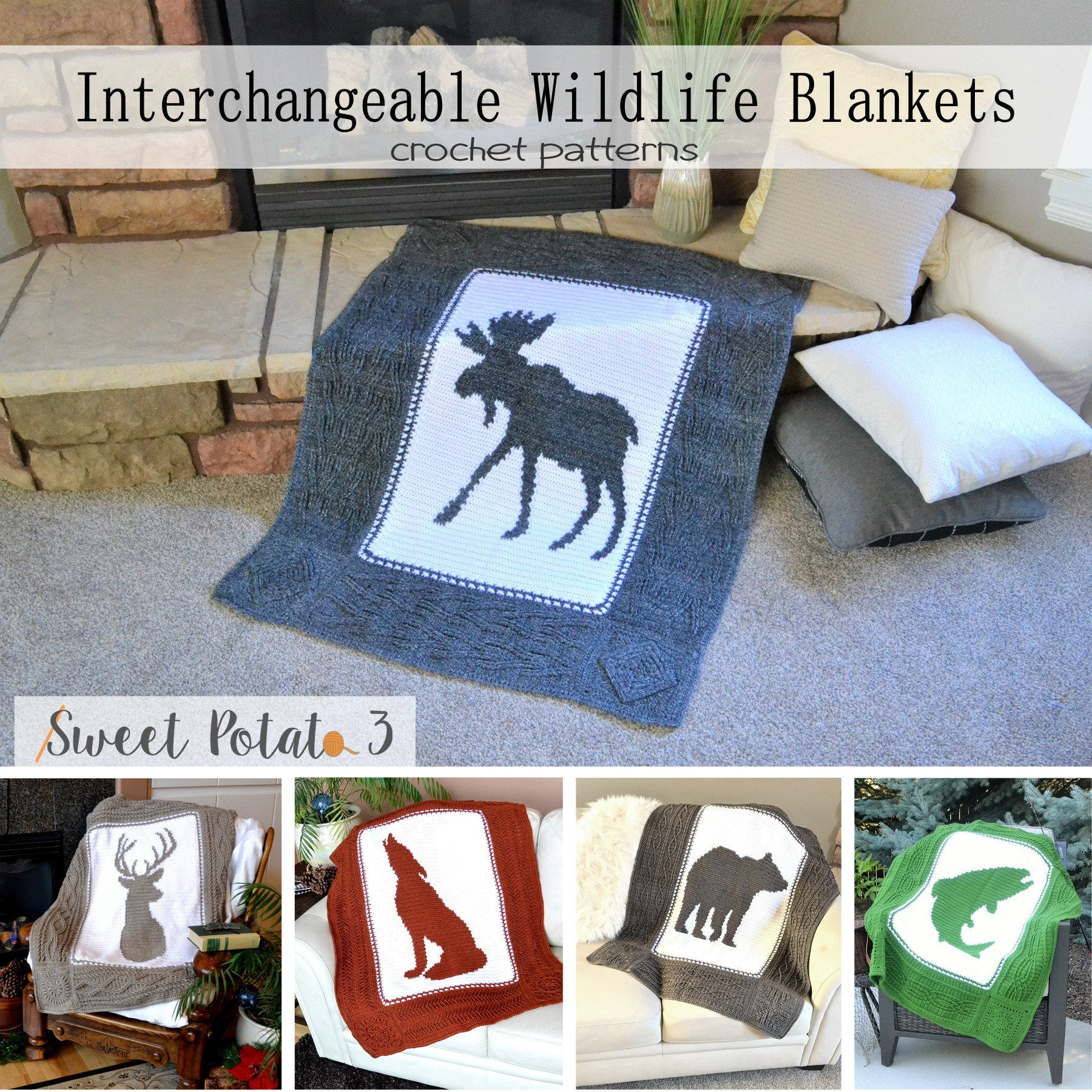 You are currently viewing Interchangeable Wildlife Blankets – Crochet Pattern Bundle