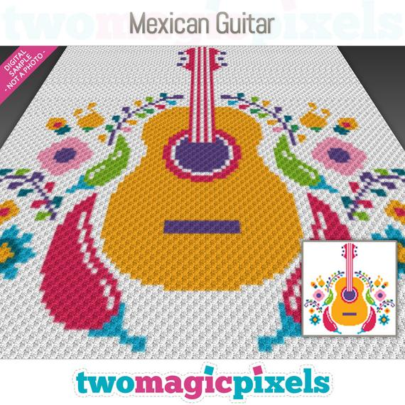 Mexican Guitar crochet graph by Party Pie