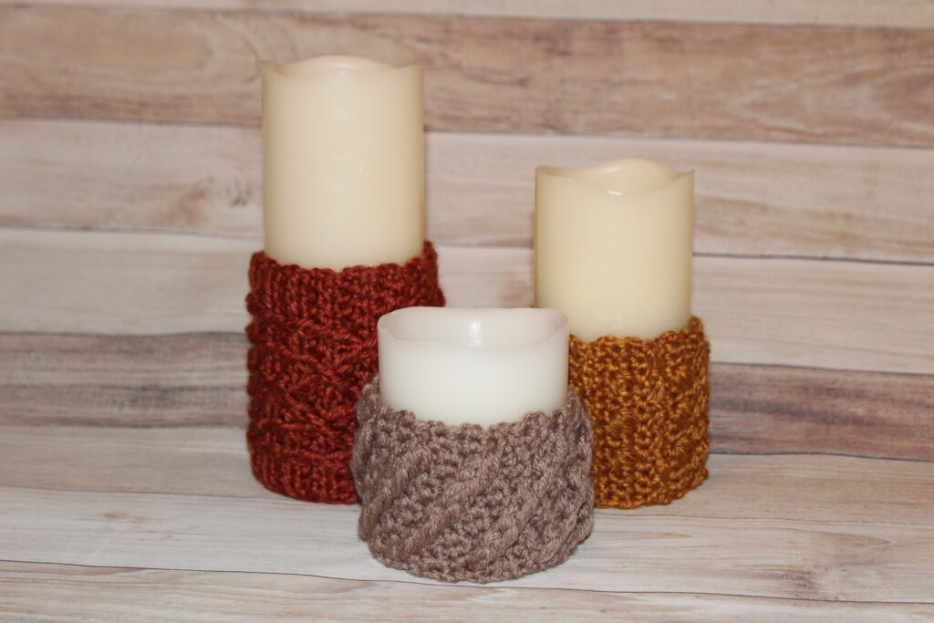 Cable Candle Wraps in Fall
