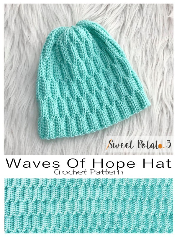 Waves of Hope Crochet Hat Pattern