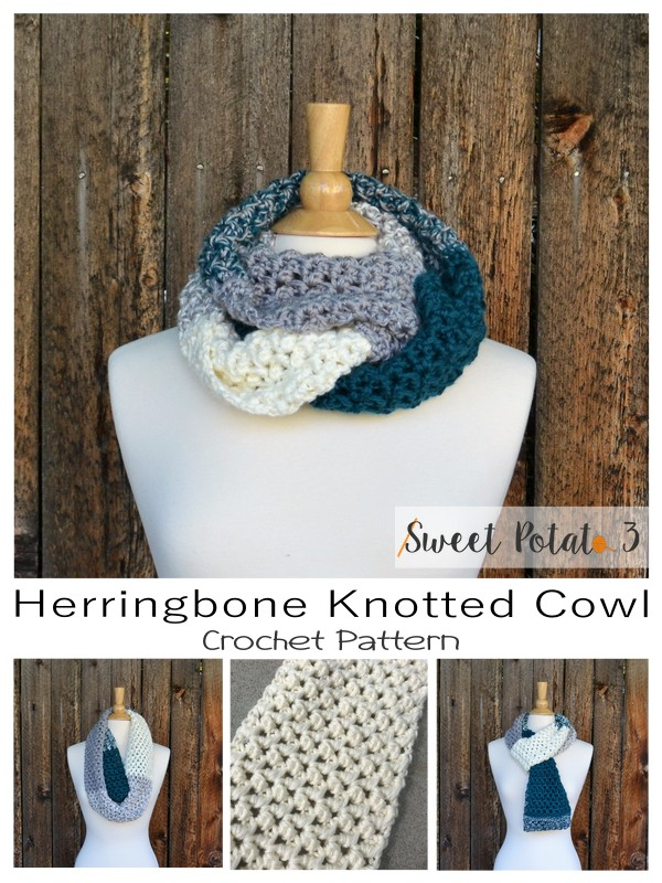 Herringbone Knotted Cowl & Ear Warmer Crochet Pattern