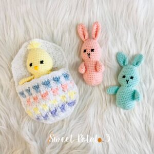 Easter Egg Pocket with Bunny & Chick Crochet Pattern
