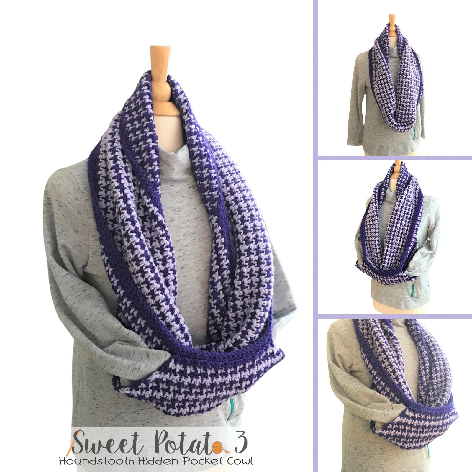 Houndstooth Pocket Cowl Crochet Pattern