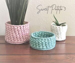 A Customized Crochet Woven Basket / Pot Holder Pattern