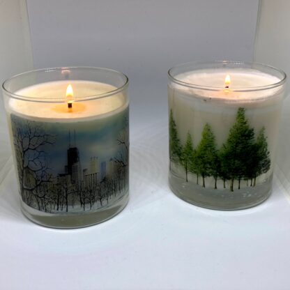 2 Pack Pine Candle Burning
