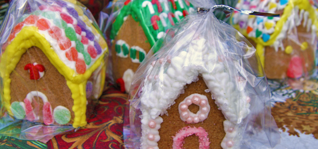 Completed and Bagged Gluten-Free Mini Gingerbread Houses Holiday & Hearth Holiday and Hearth Lisa Novelline Lisa Anne Novelline author writer The Dance of Spring craft blog creative blog creativity decorator blog festival celebration seasons nature blog Winter Christmas Yule yuletide Winter Solstice December yule mini gingerbread houses gingerbread house handcrafted gumdrops peppermint candy sprinkles toppings royal icing homemade template