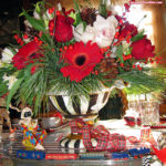 Let's Play! Whimsical Yuletide tablescape featuring MacKenzie Childs Tablecloth