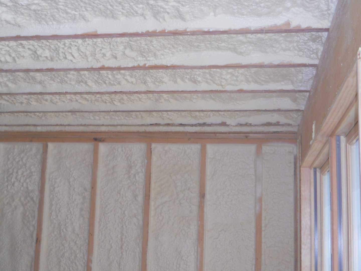 Attic ceiling and exterior wall closed cell spray foam. Air-tight! Closed cell spray foam. Chester, MA. Foam USA
