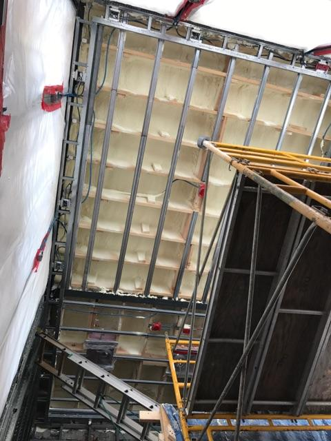 Cathedral Roof insulated with Gaco closed cell Commercial spray foam insulation