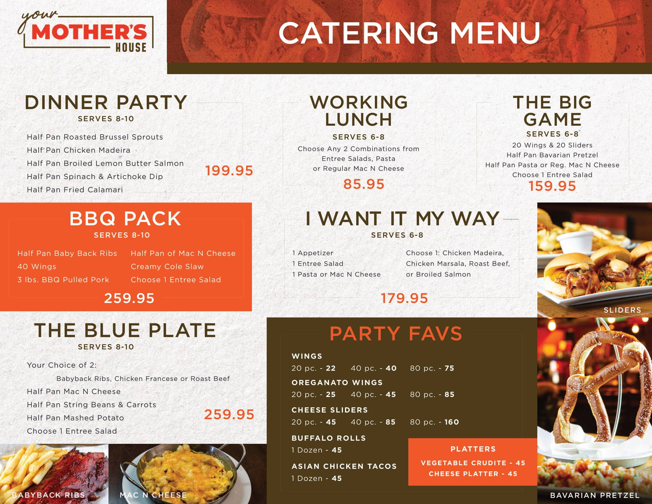 Your Mother's House - Catering Menu Page 1