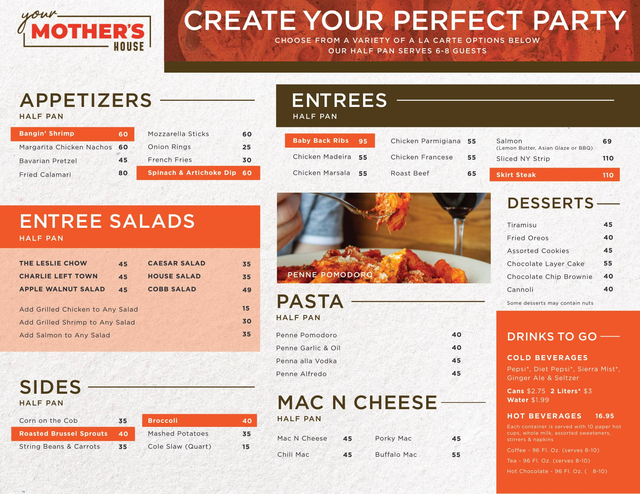 Your Mother's House - Catering Menu Page 2