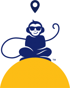 Monkey Sitting On Sunset With Thought Bubble