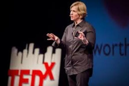 Dr. Brene Brown giving TED talk