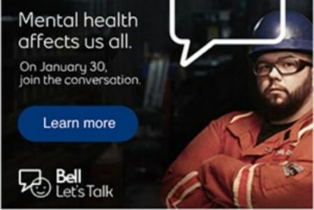Bell lets talk day poster Jan 30 2019 with oilfield worker
