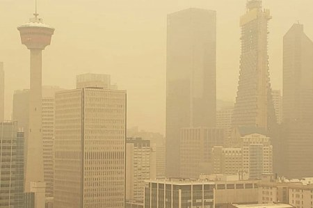 Calgary downtown smoky during forest fire season May 31, 2019