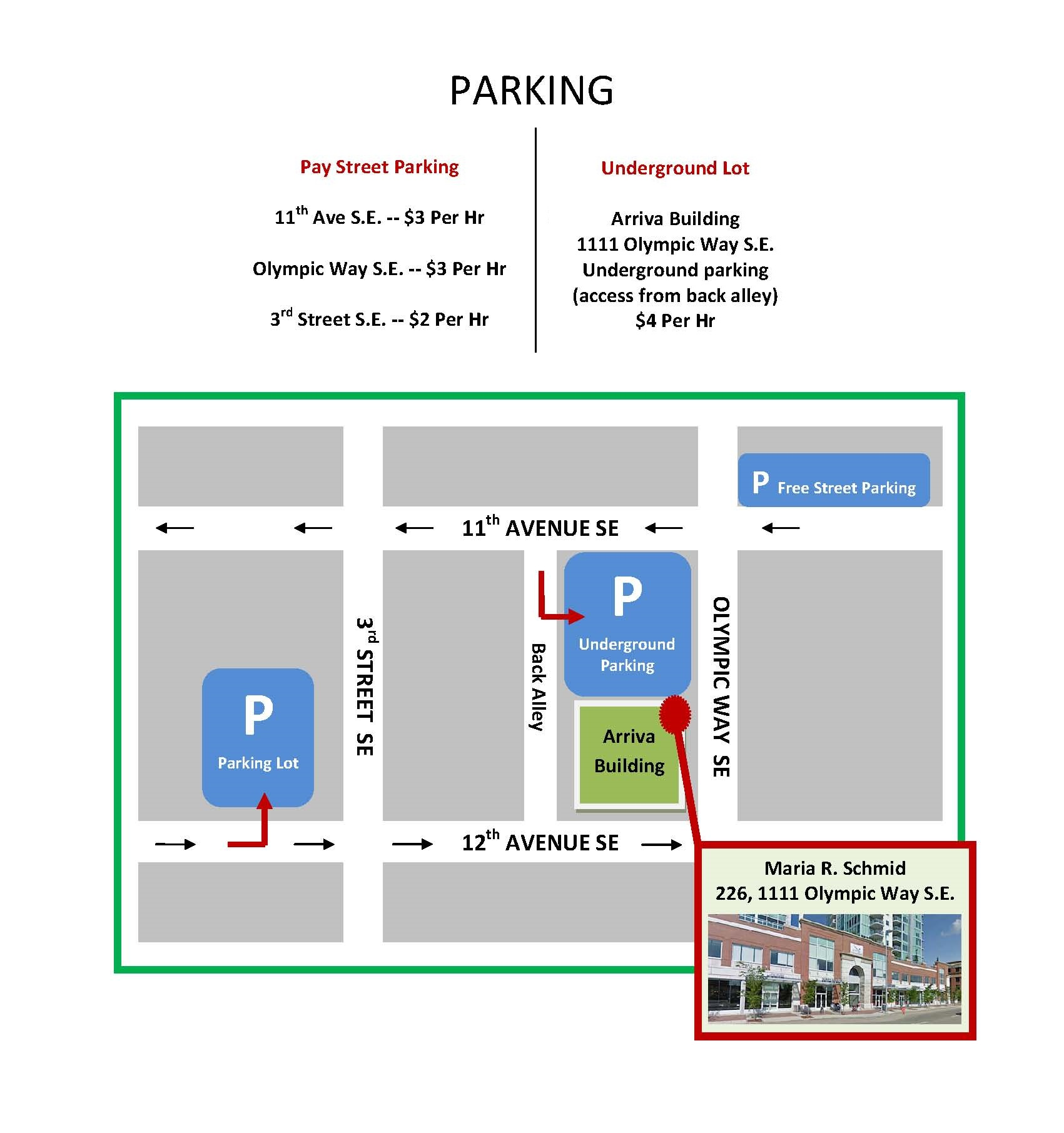 Parking Map for Maria R Schmid Psychology and Counselling Services