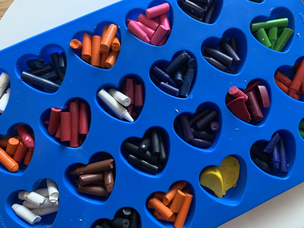 heart shaped mold with crayons