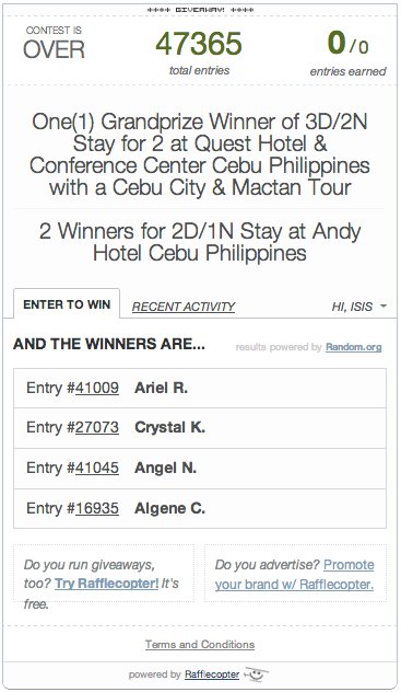 Exotic Philippines Giveaway Winner