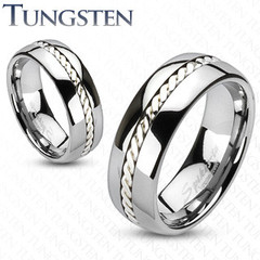 Silver Rope Tungsten Carbide Ring