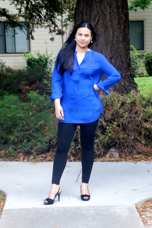 Monroe And Main Placket Tunic with tights