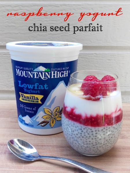 Raspberry Yogurt Chia Seed Parfait with Mountain High Yoghurt