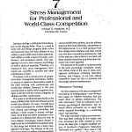 Stress Management for Professional and World Class Competition