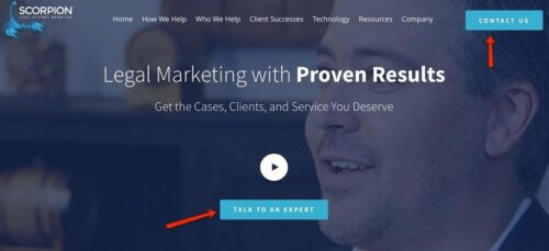 """A page featuring a man in a suit that reads """"legal marketing with proven results""""."""