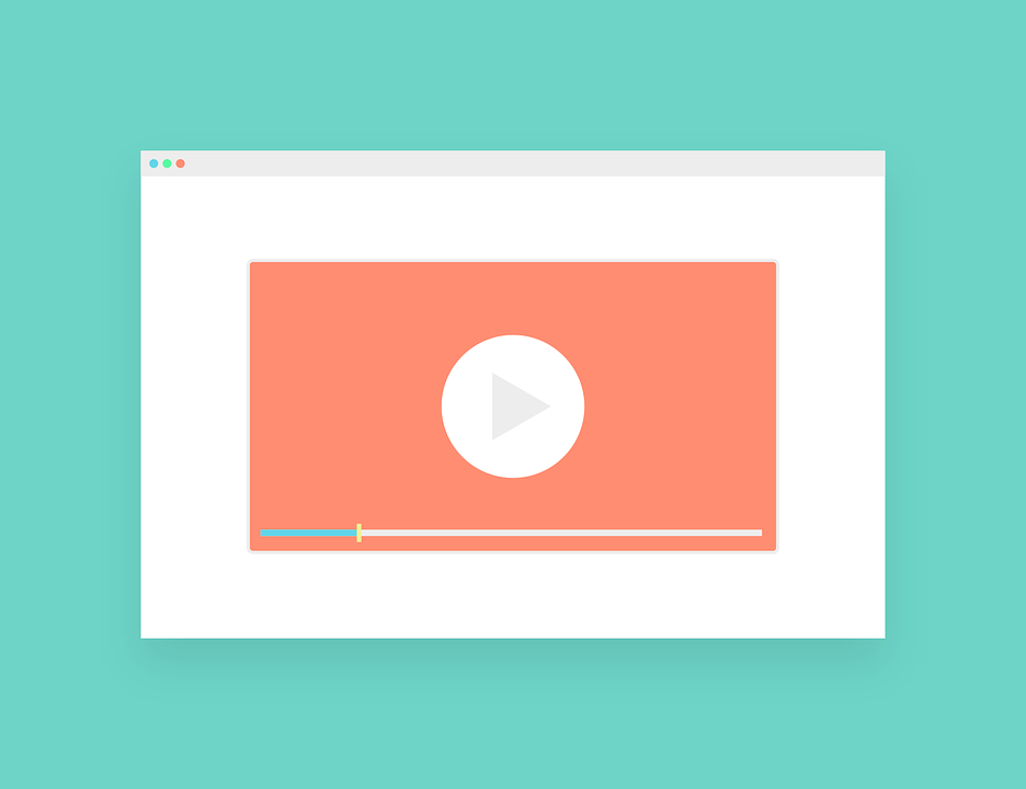 An illustration of a video player within a website in front of a teal background.