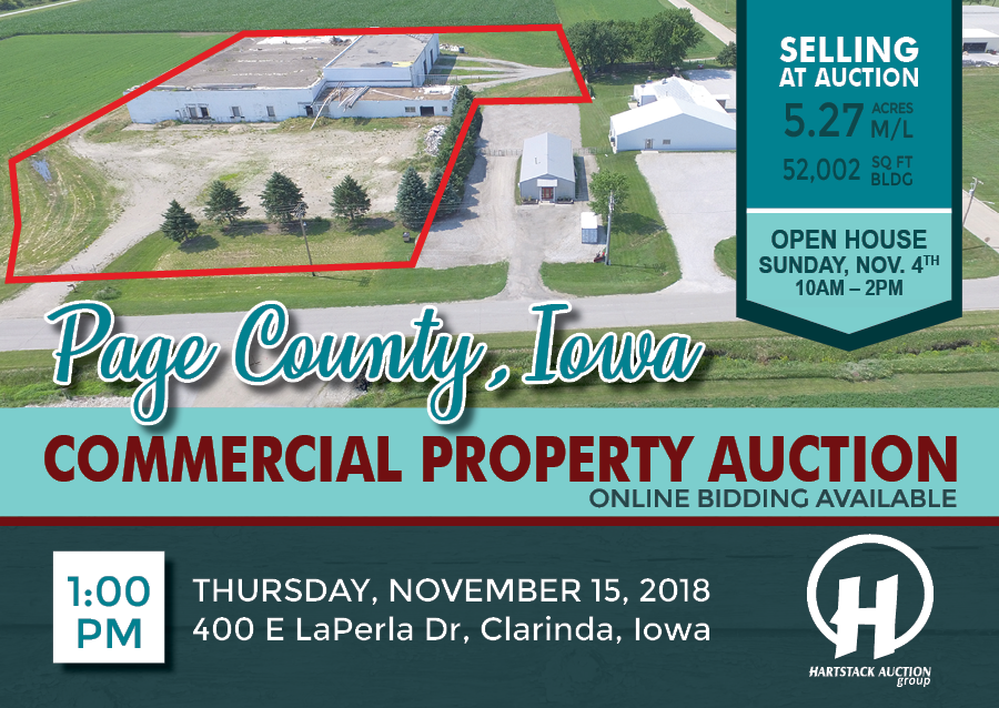 Clarinda Commercial propety auction Nov 15, 2018 post card