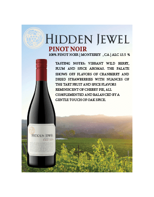 hidden jewel wine pinot noir 2018 vintage shelf talker