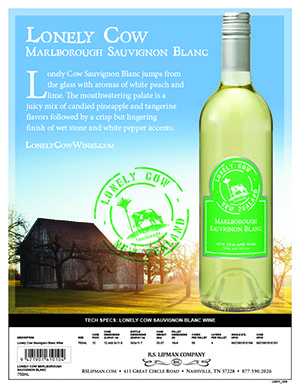 green and blue sales sheet lonely cow sauvignon blanc