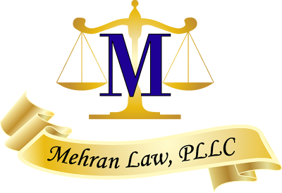 """Mehran Law logo; a gold and white banner with the text """"Mehran Law, PLLC"""", above it is a silhouetted gold to white gradient scale of justice with a blue and black letter M on top center."""