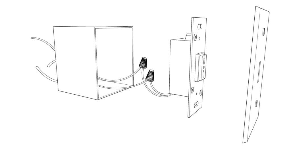 A wire frame drawing showing an expanded view of a No Touch Switch installation