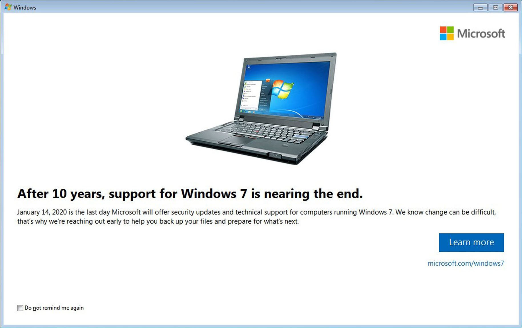Windows 7 End of Life Notification
