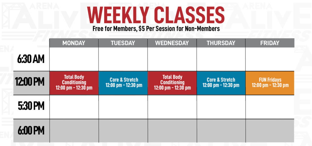 Arena Alive Fitness Class Schedule