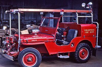 Willys / Howe CJ-2 Jeep Fire engine with water trailer. Ex – Lake Geneva, WI.