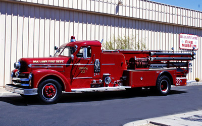 """Seagrave  """"Anniversary Model"""" Quad Fire Engine.  1955.  Ex- Oak Lawn, IL"""