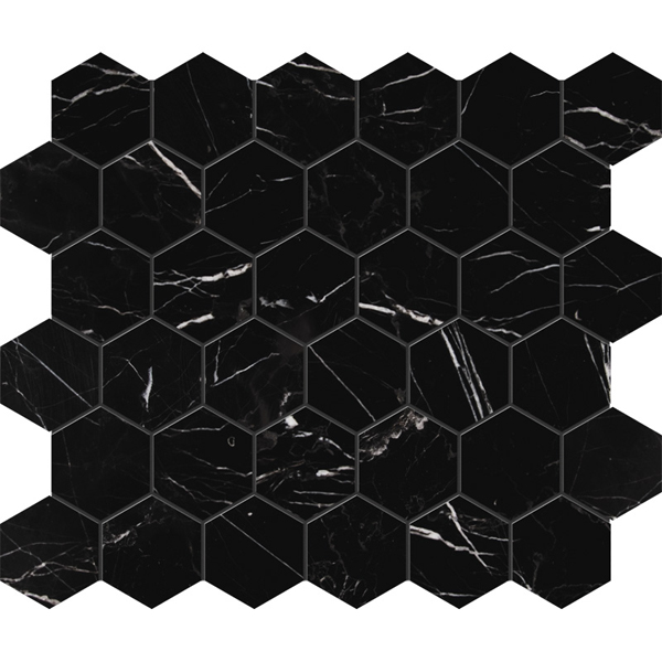 Black Honed Hexagon