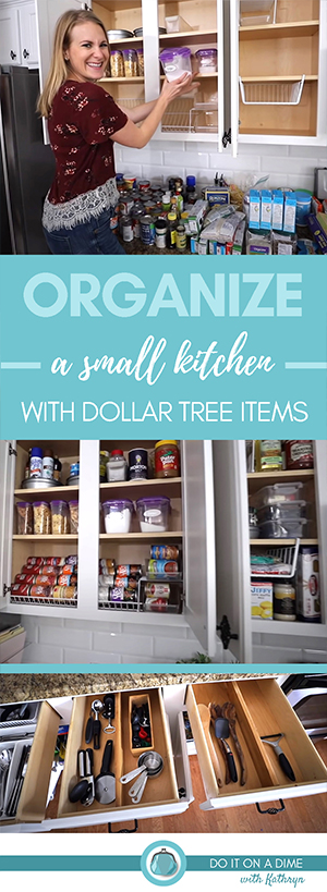 Today we are organizing a SMALL kitchen all from Dollar Tree! Clean, declutter and organize with me.