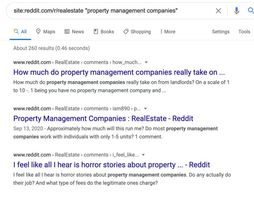 property management reddit keyword research