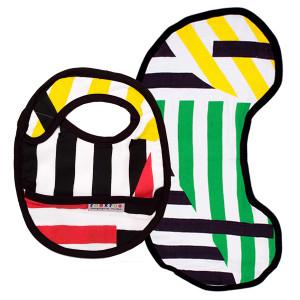 Organic bib + burp set – red & green stripes $36 @rouxroo.net