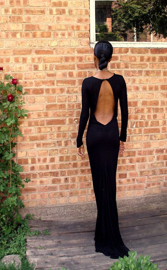 Black Backless Full Length Gown, $195 @etsy.com